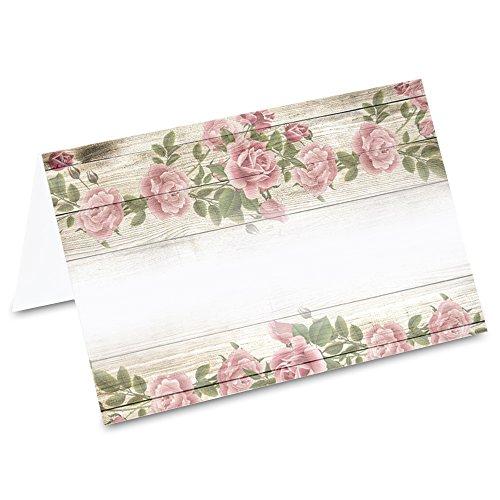 PRICARO Tischkarten Vintage Blumen, 50 Stück