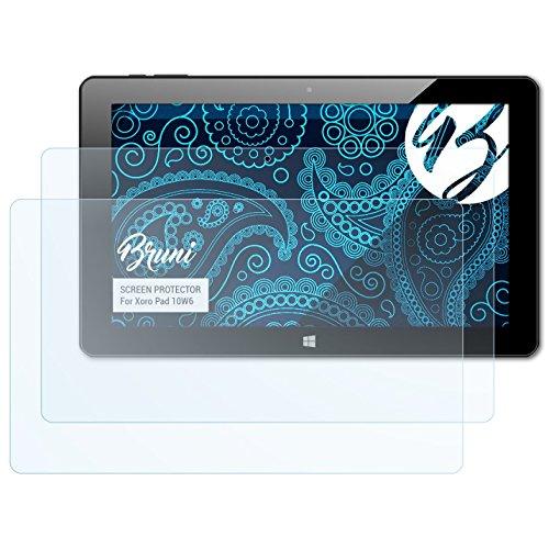 Bruni Schutzfolie für Xoro Pad 10W6 Folie, glasklare Bildschirmschutzfolie (2X)
