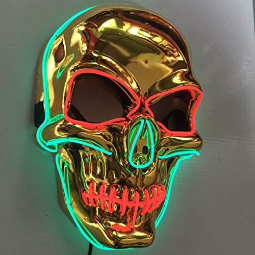 3M Cw Halloween-Maske mit goldenem Bass, LED, leuchtet EL-Kaltlicht, Cosplay, ()