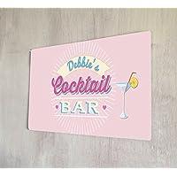 Artylicious - Decorazione murale personalizzabile cocktail bar, in metallo, stile vintage, formato A4, colore: rosa