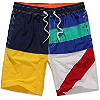 Pantalones de playa de verano mosaico geométrico hit color casual vacaciones en la playa del hombre sueltan pantalones cortos de gran tamaño de cinco hombres de deportes de los hombres ( Size : XXL )