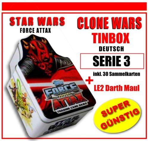 STAR WARS FORCE ATTAX SERIE 3 CLONE WARS - TINBOX inkl. LE2 DARTH MAUL (DE) Limitierte Auflage Karte - NEU & OVP