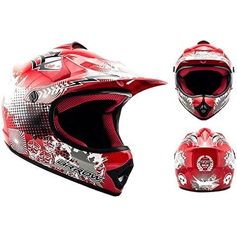 Casco Moto Cross Infantil para Niños, Calidad Superior, Tamaño S 53-54cm, Rojo