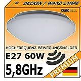 Bewegungsmelder Deckenlampe Leuchte - Radar Lampe 5,8Ghz Wand / Decke Montage - E27 60W