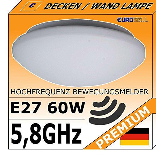 Deckenlampe mit Bewegungsmelder Leuchte - Radar Lampe 5,8Ghz Wand / Decke Montage - E27 60W