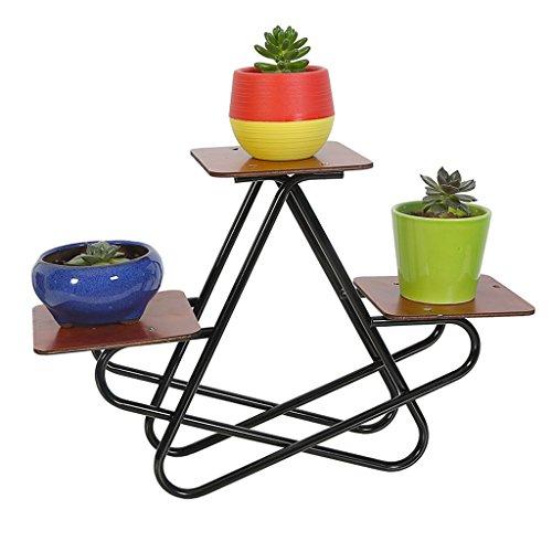 Iron Flower Racks Étagère de bureau Pots de bureau à crémaillère Bureau à  petite fleur (22 * 25cm) (Couleur : Noir)