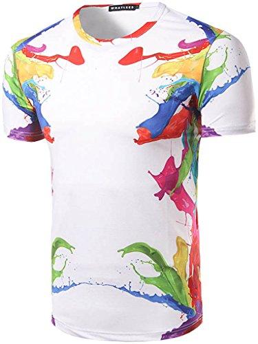Whatlees Herren Hip Hop Slim Fit T-Shirt mit Bunt 3D Farbspritzer Druck Muster B053-42