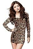 Shangrui Damen Trend Charm Bar-Kleid-Leopard Cultivating Langärmelige Kleidung W627