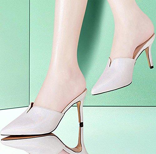 Spitz weibliche hohe Absätze fein mit Sandalen und Pantoffeln Sommer im Freien weibliche Hausschuhe Baotou Silver