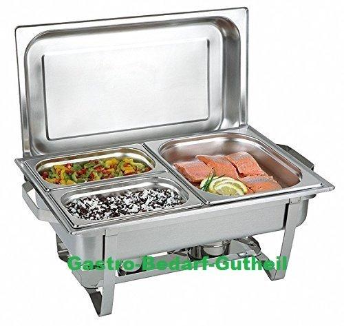 Gastro-Bedarf-Gutheil Chafing Dish Speisenwärmer bestehend aus: 1 Gestell mit Deckelhalterung, 1 Wasserbecken 3 Speisebehälter 2 x GN 1/4 - Tiefe 65 mm + GN 1/2 - Tiefe 65 mm