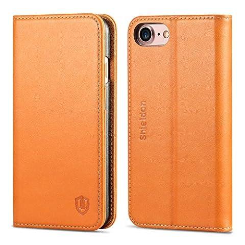 iPhone 8 Hülle, iPhone 7 Hülle, SHIELDON [Lebenslange Garantie] Echt Leder Tasche für iPhone 8/7 (4.7 Zoll) Handyhülle im Bookstyle mit Magnet Kartenfächer Standfunktion, Cognac (Tasche Magnete)
