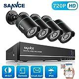 SANNCE 8CH 720P HD Video Überwachungskamera System ohne Festplatte 1080N HDMI DVR Recorder mit 4 Outdoor 1.0MP 720P CCTV Haus Sicherheit Kamera Set, 20M Nachtsicht, P2P Schnellzugriff