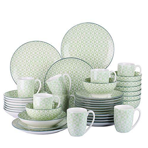 Vancasso Midori Porzellan Tafelservice, 40-teilig Geschirr Set, Beinhaltet Kaffeebecher,...