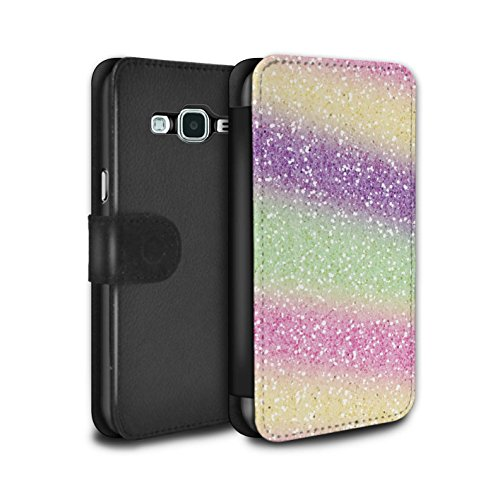 Stuff4® PU-Leder Hülle/Case/Tasche/Cover für Samsung Galaxy Grand Prime/Einhorn Regenbogen Muster/Glitter Muster Effekt Kollektion -