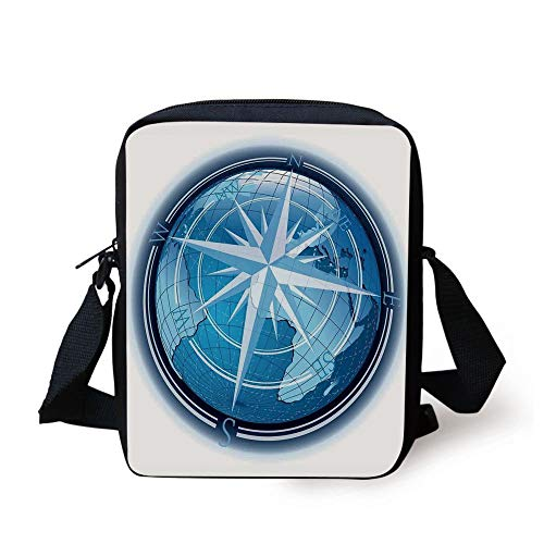 CBBBB Compass Decor,Abstract Composition with Globe and Windrose Continents Ocean Modern Illustration,Navy Blue Print Kids Crossbody Messenger Bag Purse -