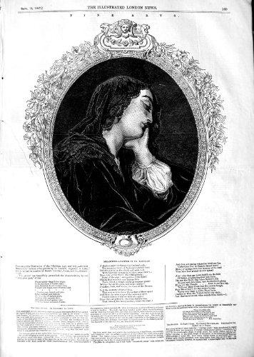 DAME MÉLANCOLIQUE WOMAN DE BEAUX-ARTS DE 1847 LANDELLE BELLE par original old antique victorian print