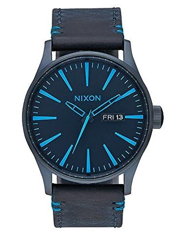 Nixon Sentry Leather All Dark Blue Herrenuhr A105