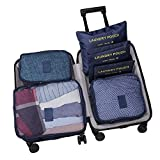 WOWTOY 6PCS Packing Cubes Value Set for Travel Luggage Organiser Bag Compression Pouches Clothes Suitcase, Dark Blue
