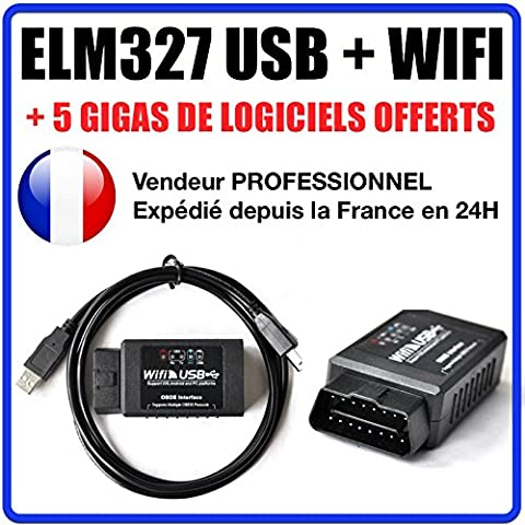 Valise DIAGNOSTIC ELM327 USB + WIFI - MULTIMARQUES OBD2 100%