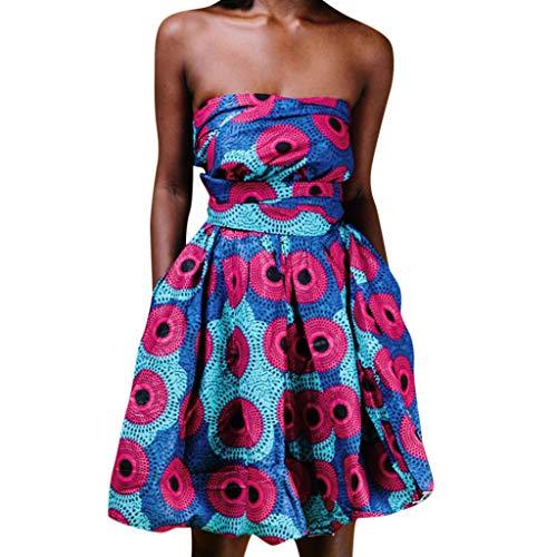 Sommerkleid Frauen Sommer African Printed Elegant Party Sleeveless Wear Mehr Träger Kleid ()