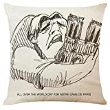 Xmansky Funda Cojin Almohada Estilo de dibujo, paisaje de personajes, París Decoración para Sofá Cama Coche 18x18 45x45 cm