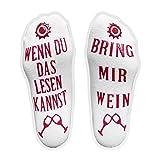 iZoeL Lustige Socken aus Baumwolle mit Gummierten Schrifte - Wenn Du Das Lesen Kannst Bring Mir Wein - Geschenkidee Gastgeschenk für Damen, Männer, Gastgeber, Einweihungsfeiern, Geburtstage, Christma