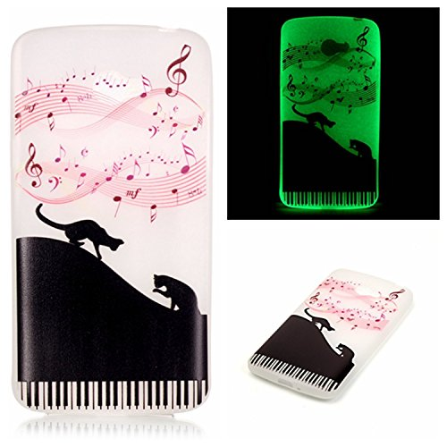 LG K5 , Piano cat : Voguecase® For LG K5,(Piano cat)Slim Fit Noctilucent Soft Silicone TPU Flexible Case Cover Anti-Scratch Shock Proof + Free Universal Screen-Stylus