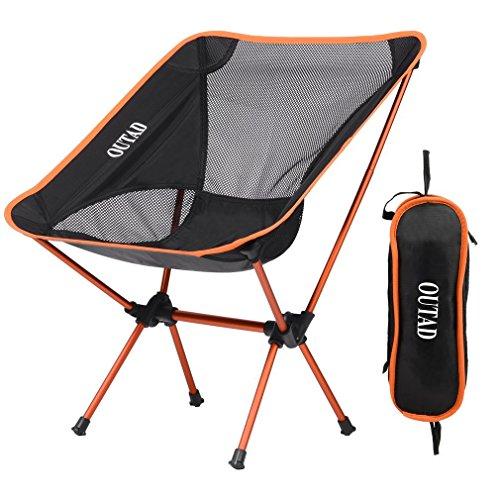 YKS OUTAD Klappbarer Campingstuhl Campingstuhl Faltstuhl Klappstuhl Moonchair Camping Hocker mit Rückenlehne,Picknick, Wandern, bis zu 150kg(orange)