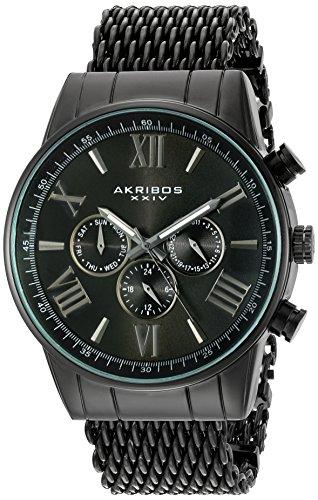 Akribos XXIV-Orologio da uomo al quarzo con Display analogico e braccialetto in acciaio INOX con AK919BK, colore: nero