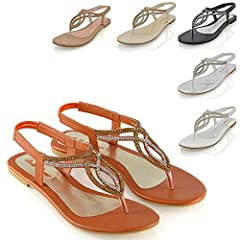 4f7c91dd8a92 Womens flat diamante toe post slingback sparkly ladies holiday sandals shoes