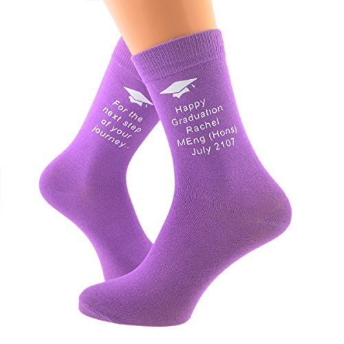 Personalised Happy Graduation (Name, Honors and Date) / For The Next Step on Your Journey.. Ladies Womens Vinyl Printed Purple Socks UK 4-8 EUR 37-41 X6N563 (PLEASE SEE INSTRUCTIONS ON LISTING)