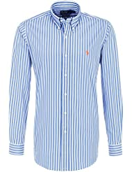 Polo by ralph lauren chemise pour homme bleu/blanc/orange striped pony coupe ajustée