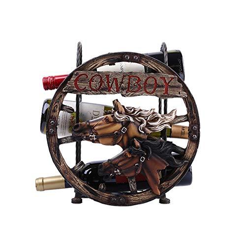 Kreative Weinregal, Europäische und Amerikanische Kreative Pferdekopf Weinregal Retro Crafts Weinregal - Geeignet für Bars, Weinkeller, Keller, Schränke, Speisekammer, etc. -