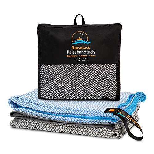Reiselust Sandabweisendes Microfaser Strandtuch mit Sicherheitstasche - Federleichtes Mikrofaser Badetuch aus Bambus - Sporthandtuch, Saunatuch (160x80, Stonegrey)