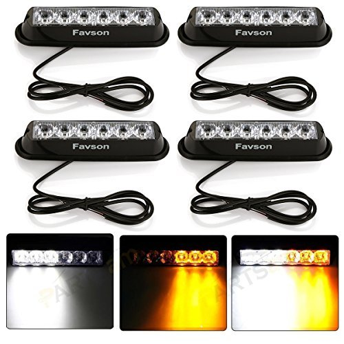 Favson 6 LED White&Yellow Universal Strobe Lights - High Power Warning Caution and Emergency Construction Light for Car Truck Van (4 pcs) by Favson -