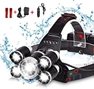 مصباح أمامي DELEE مقاوم للماء 12000 Lumen 5 LED XML T6+4Q5، مصباح أمامي LED قوي قابل لإعادة الشحن للتخييم، الم