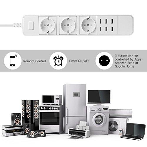 smart steckdosenleiste wifi power strip mit berspannungsschutz mehrfachsteckdose mit 3. Black Bedroom Furniture Sets. Home Design Ideas