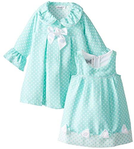 Traumhaftes Set von Bonnie Jean - Mantel + Kleid in türkis mit Punkten Gr. 86,92 Größe 104