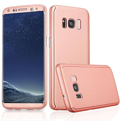 Xelcoy® 360 Degree Full Body Protection Front & Back Slim Hybrid Case Cover With Screen Protector for Samsung Galaxy S8 – Rose Gold