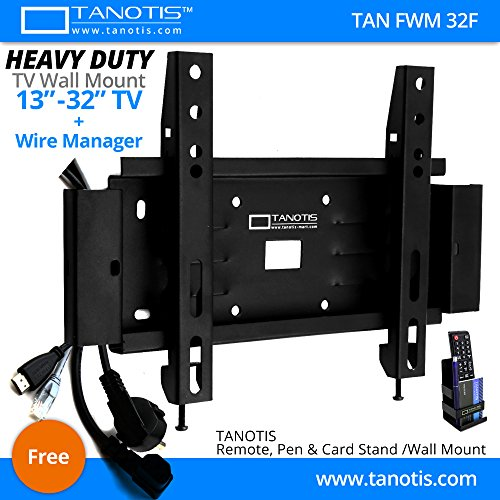 """Tanotis Elite F200 Fixed TV Wall Mount with Wire Manager for LCD LED TV Supports 13 to 32"""" inch, upto 200mm VESA, 25.5Kgs Extreme Heavy Duty TAN FWM 32F + Free TANOTIS Remote Stand TAN ACC RMS"""