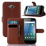 Tasche für Acer Liquid Z530 Hülle, Ycloud PU Ledertasche Flip Cover Wallet Case Handyhülle mit Stand Function Credit Card Slots Bookstyle Purse Design braun