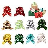Naler 10 Fiocchi di Coccarda di 10 Colori Fiocchi Autotiranti per Decorare Matrimonio,Festa, Battesimo Comunione, Regalo di Natale