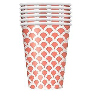 Unique Party- Paquete de 6 vasos de papel con diseño de concha, Color rosa coral, 355 ml (37216)