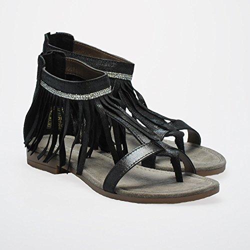 Sandali CafèNoir per donna in pelle satinata nera con frangiette Nero