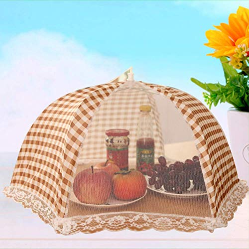 CONNECTWIDE Nylon Food Cover Tent Umbrella Dome mesh and Lace Design, Multicolour