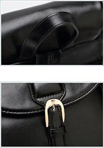 Yan Show Damen Schaffell Schultertaschen Rucksack Handtasche Multifunktions Tasche(Blau) Schwarz