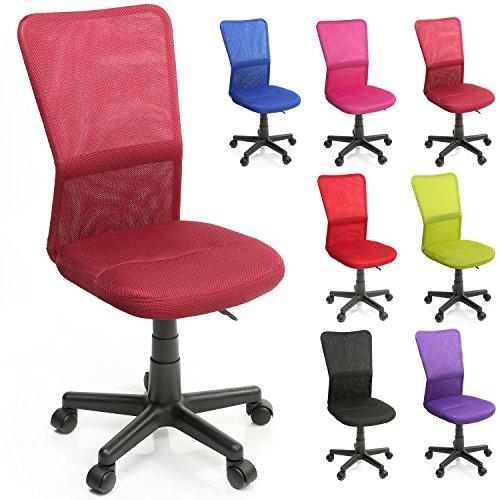 TRESKO Bürostuhl Schreibtischstuhl Drehstuhl, mit Kunststoff-Leichtlaufrollen, stufenlos höhenverstellbar, gepolsterte Sitzfläche, ergonomische Passform, Lift SGS-geprüft (Weinrot)