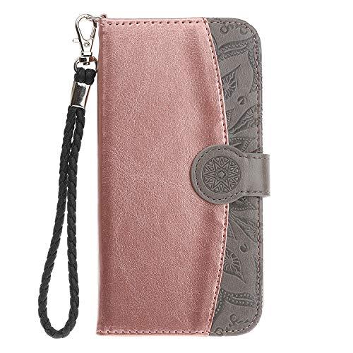 Felfy Okssud Carcasa Samsung Galaxy A6 Plus 2018 Wallet Cuero,Funda Galaxy A6 Plus 2018 Oro Rosa,Moda 3D Flor Mandala Impresión Diseño Billetera Flip Wallet PU Case Stand Card Slot