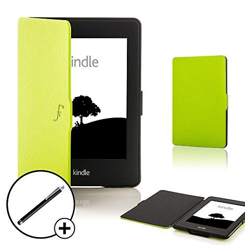 Forefront Cases Amazon Kindle Paperwhite (Nur für 2012, 2013, 2015, 2016 Modell) Smart Hülle Schutzhülle Tasche Case Cover - Ultra Dünn Leicht Rundum-Geräteschutz Smart Auto Schlaf Wach + Stift (Grün)