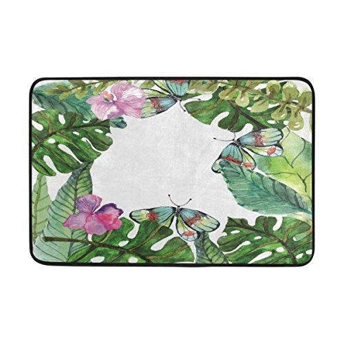 FFY Go Badteppich, Tropical Leaf Pattern Print rutschfeste Antischimmel-Easy Dry Fußmatte Teppich für Dusche Raum Badezimmer Tür Indoor Outdoor 58,4x 38,1cm (Outdoor-teppich Tropical)